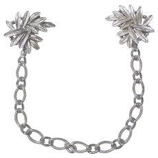 Crown Trifari Convertible Sweater Clip/Bracelet/Clips Silver-tone Matte Leaf Design