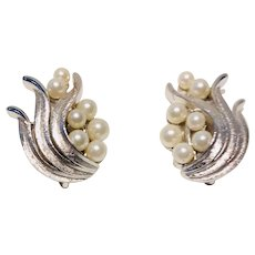 Crown Trifari Leaf and Faux Pearl Silver-tone Clip Earrings 1950's
