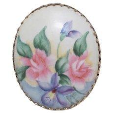 Porcelain Transfer Floral Victorian Revival Brooch in Gold-tone Ornate Bezel