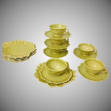 Woodfield by Steubenville 18 Piece Dessert/Luncheon Set Golden Fawn/Chartreuse 1940's - 50's