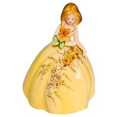 Josef Originals Large Lady with Butterfly Yellow Ball Gown with Roses