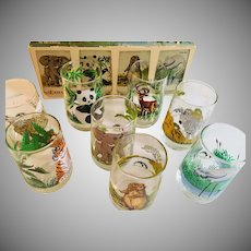 Rare Set of Brockway Endangered Species Collection Eight Decorated Glasses in Original Box