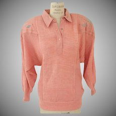 Stone Wash Leather Trimmed Sweater by Suzelle Coral with Turquoise Accents 1980's
