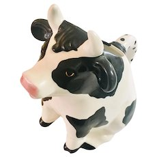 Clay Art Large Cow Pitcher Hand Painted Black and White  1989