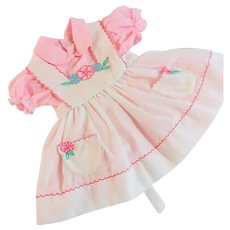 Girls Toddler Pink Dress with Appliqued Pinafore 1970's