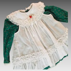 Toddler Christmas Dress Pilgrim Collar  and Lacey Pinafore Vintage by Bryan 1960's