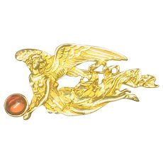 Louis Stern Vintage Brooch/Pin Gold-tone Flying Angel holding Amber Orb