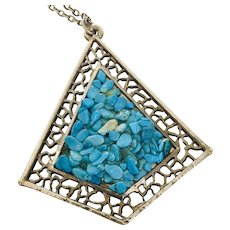 Turquoise Chip Fused Pendant Silver-tone Filigree on Silver-tone Chain