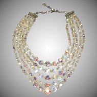 Crystal 5 Strand Bib Necklace Aurora Borealis with Adjustable Clasp Vintage Sparkling