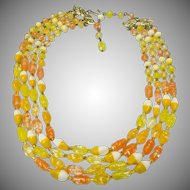Multi Strand Glass Lampwork Bead Necklace in Yellows, Oranges, White and Butterscotch Circa 1970's