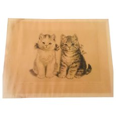 Vintage Print of Adorable Kittens  by Meta Pluckebaum signed in the plate titled Brother and Sister