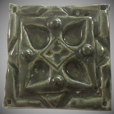 Vintage Ornate Green Glazed Tile Arts and Crafts Style Glazed Back Unsigned.