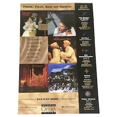 Vintage Michigan Opera Theater Poster from 1998 advertising the 1999 Season