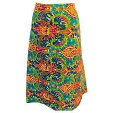 60ffa3ed645 Vintage Colorful Quilted Skirt in a fabulous 1970 s Print