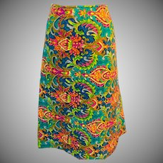 Vintage Colorful Quilted Skirt in a fabulous 1970's Print