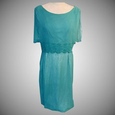 1960s Turquoise Dress by Elinor Gay After 5 Chiffon and Guipure Lace