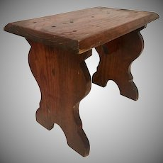 Vintage Wood Milking Stool/Foot Stool Varnished from an Upstate Farmhouse, 1940's