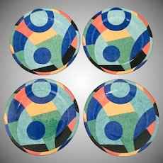 Victoria Beale Accents Salad/Dessert Plates Set of 4, 1980's Geometric Colorful