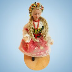 Krakowianka Traditional Polish Small Doll  Mounted on Wood Base