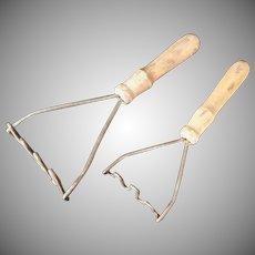 Primitive Wood Handle Kitchen Tools - Potato Mashers Antique
