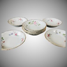 Wawel Sheraton Rose Set of 8 Fruit/Sauce Bowls 1930's - 40's Made in Poland