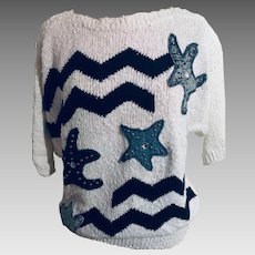 Adolfo Collectibles Resortwear Sweater with Denim Embellished Appliques