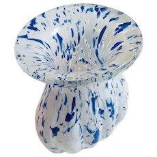 Art Glass Vintage Blue & White Splatter Vase, 1970's