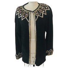 "Beaded Bejeweled Sparkling Knit Evening Jacket by Eminent, 1980's ""Vintage New with Tags"""