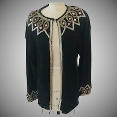 """Beaded Bejeweled Sparkling Knit Evening Jacket by Eminent, 1980's """"Vintage New with Tags"""""""