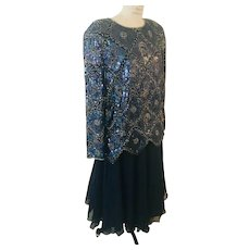 Nina Couture 2 Piece Dress Beaded Sequin Top over Chiffon Skirt Vintage New