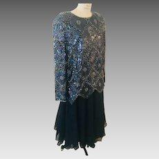 Nina Couture 2 Piece Dress Dark Blue Beaded Sequin Top over Chiffon Skirt Vintage New