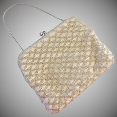 Evening Bag Off White Satin Silver All-Over Beading Made in Hong Kong