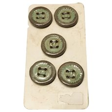 Hand Crafted Vintage Ceramic Buttons Set of 5 on Original Card
