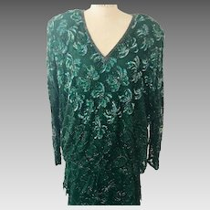 Lawrence Kazar Two Piece Emerald Beaded and Sequin After 5 Dress