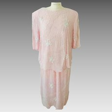 Silk Beaded 2 Piece Soft Pink Beaded Dress with Faux Pearls 1970's