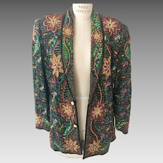 French Collizioni Silk Beaded Colorful Floral Design Open Front Blazer - Vintage New