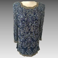 Nina Couture Silk Navy Beaded Tunic Top Vintage 1990's