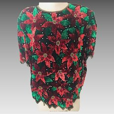 Christmas Poinsettia Lawrence Kazan Beaded and Sequin Silk Top Size 2X