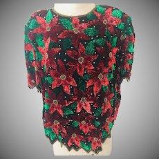 Christmas Poinsettia Lawrence Kazan Beaded and Sequin Silk Top Size 2X