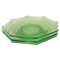 Green Depression Glass Octagon Dessert/Salad Plate Set (4)