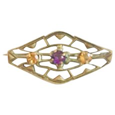 Art Deco Brass Brooch with Dark Amethyst and Topaz Faceted Czech Stones