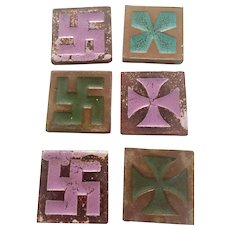 Antique Moravian Tiles with Hindu Sauvastika, Cross Pattee Glazed Shapes, Early1900s