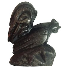 Hand Carved Black Soapstone Rooster with Beautiful Detailing