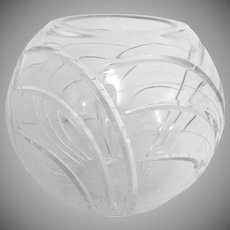 Cut Crystal Rose Bowl  10 Inch with Swirl Pattern 1970's