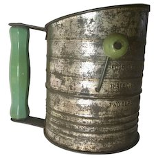 Rustic Bromwell 5 Cup Flour Sifter with Green Handle, circa 1930's