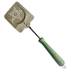 Pierced Metal Spatula/Strainer with Green Wood Handle 1930s