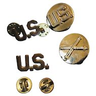 US Military Pins WW2 Brass US Pinbacks  and Artillery Pin Back 4 Total