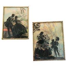Benton Glass Convex Romantic Silhouette Pair 1939 - 40