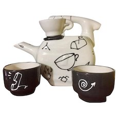 Mod Tea Set with Cartoon Graphics in Black and White, Artist Signed, 1980's