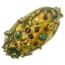 Michal Golan Pendant/Brooch Art Nouveau inspired Garnet and Malachite Cabochons
